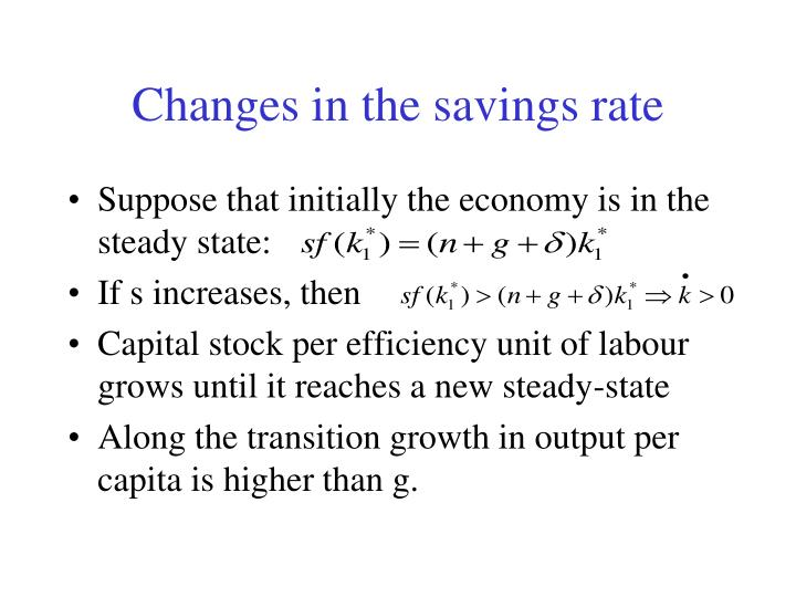 Changes in the savings rate