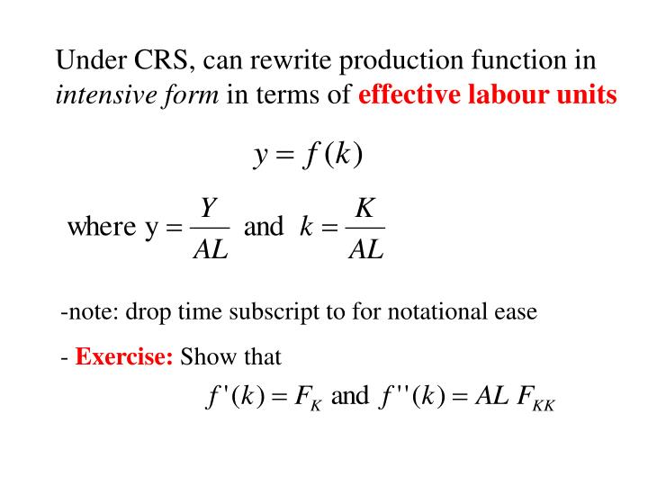 Under CRS, can rewrite production function in