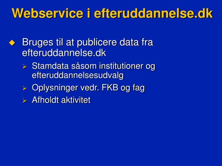 Webservice i efteruddannelse.dk