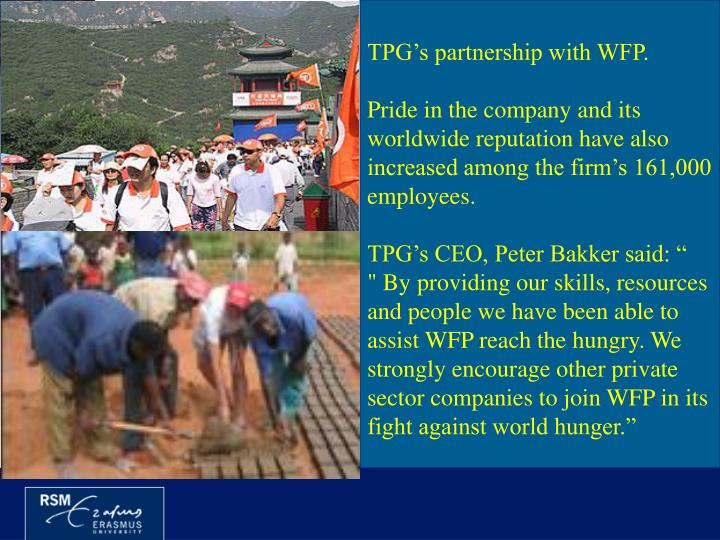 TPG's partnership with WFP.