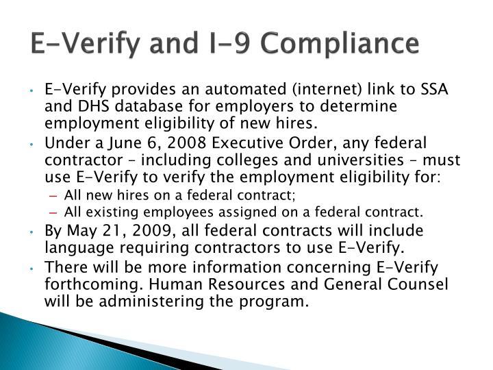 E-Verify and I-9 Compliance