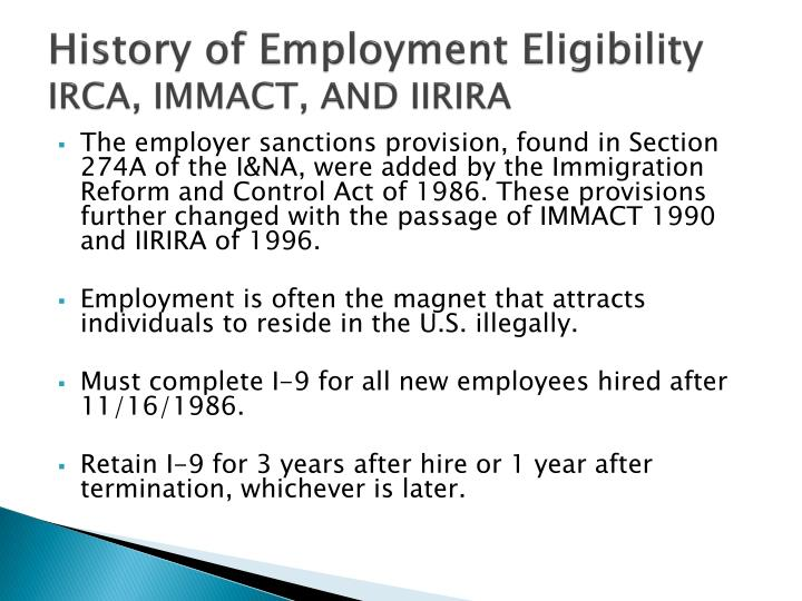History of Employment Eligibility