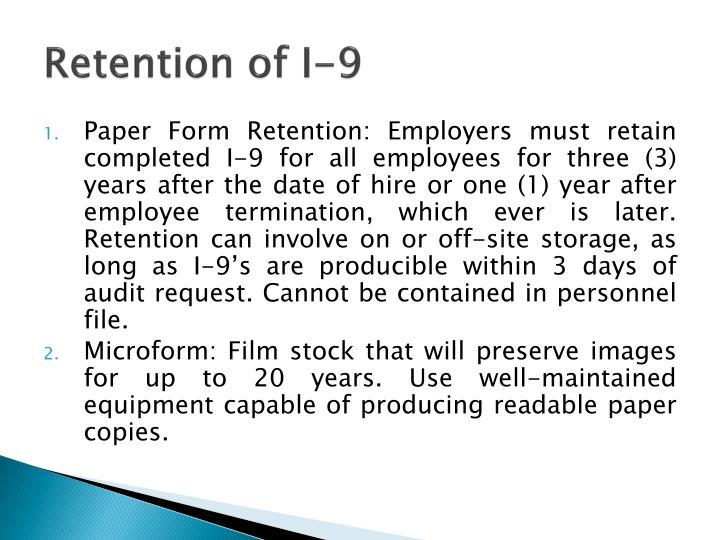 Retention of I-9