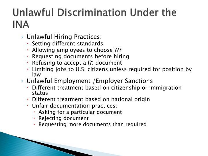 Unlawful Discrimination Under the INA
