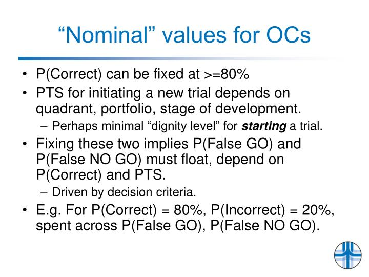 """Nominal"" values for OCs"