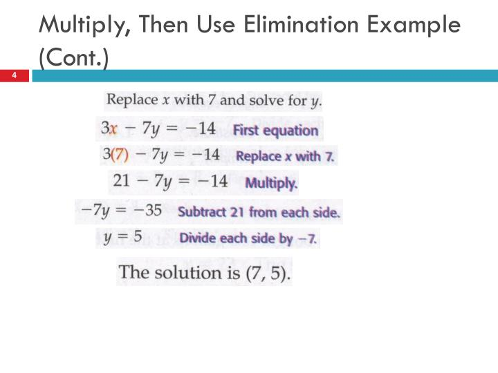 Multiply, Then Use Elimination Example (Cont.)