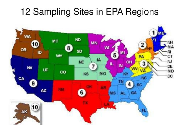 12 Sampling Sites in EPA Regions