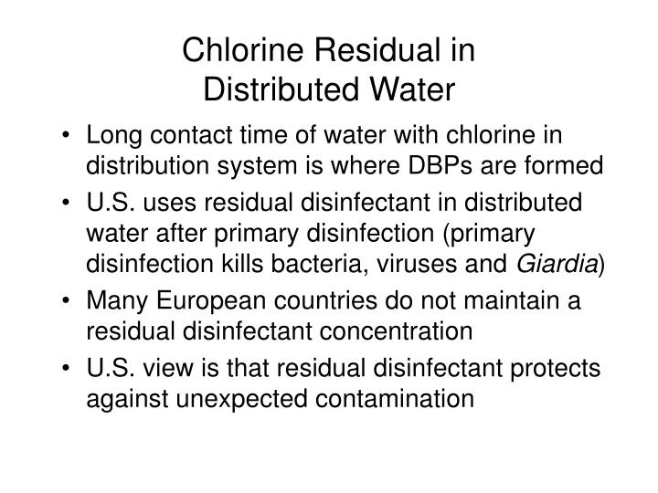 Chlorine Residual in                Distributed Water
