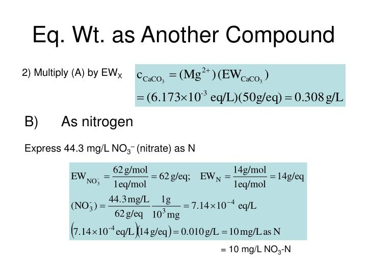 Eq. Wt. as Another Compound