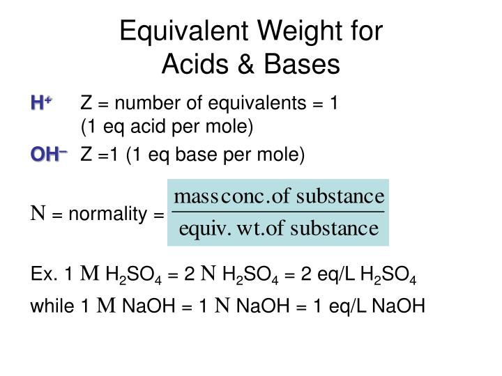 Equivalent Weight for                     Acids & Bases
