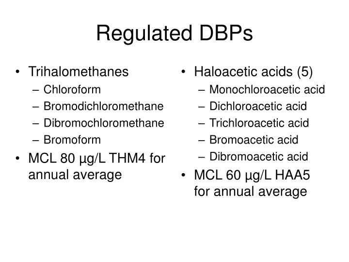 Regulated DBPs