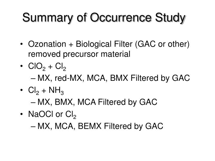 Summary of Occurrence Study