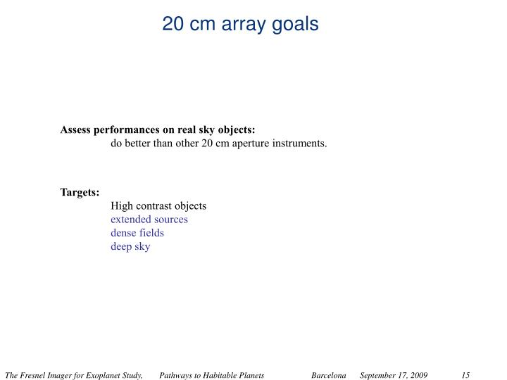 20 cm array goals
