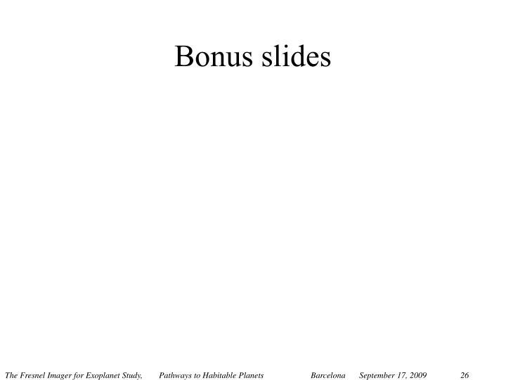 Bonus slides