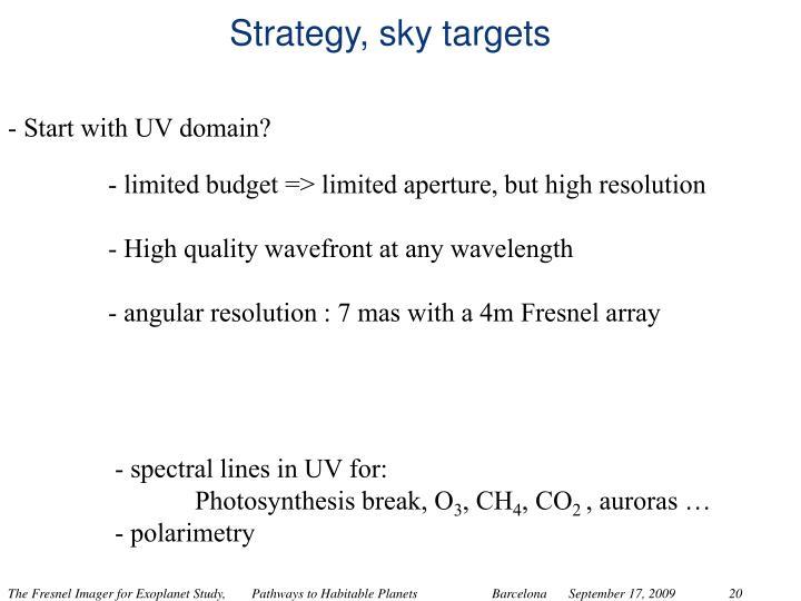 Strategy, sky targets