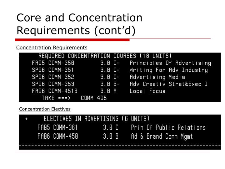 Core and Concentration Requirements (cont'd)