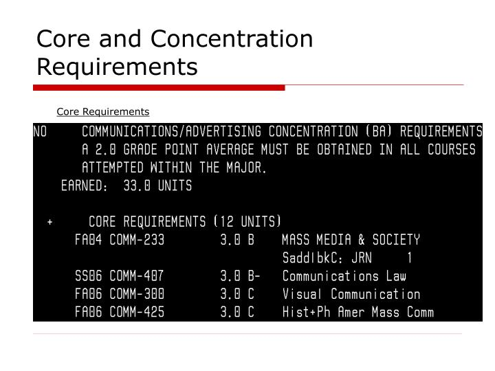 Core and Concentration Requirements