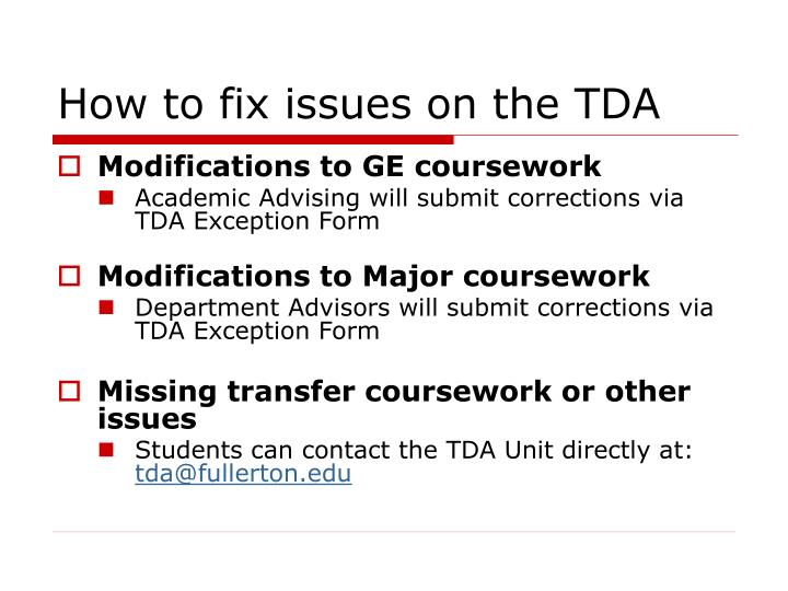 How to fix issues on the TDA