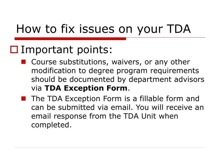 How to fix issues on your TDA