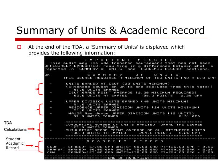 Summary of Units & Academic Record