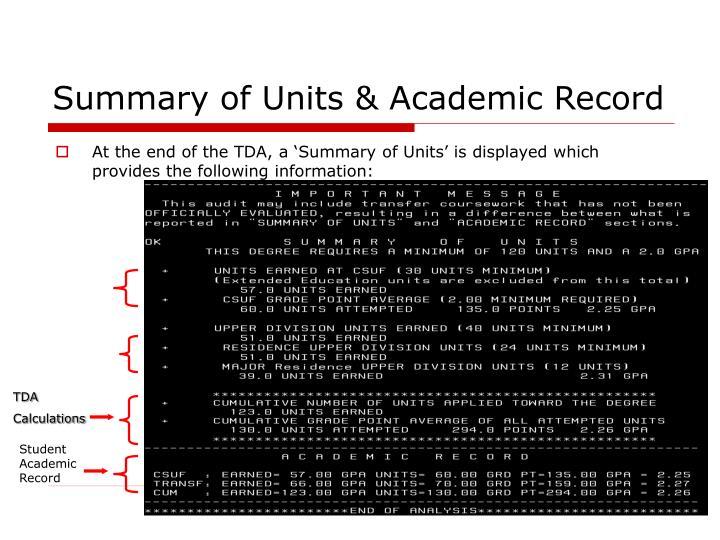 Summary of Units & Academic Record