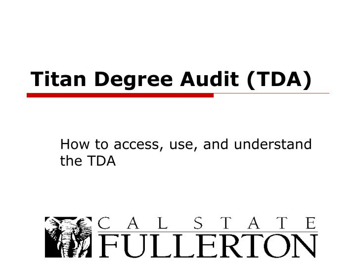 Titan degree audit tda