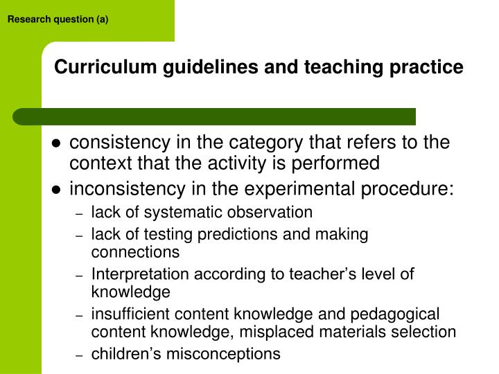 Curriculum guidelines and teaching practice