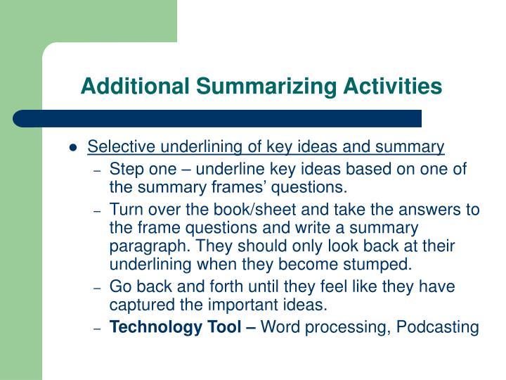 Additional Summarizing Activities