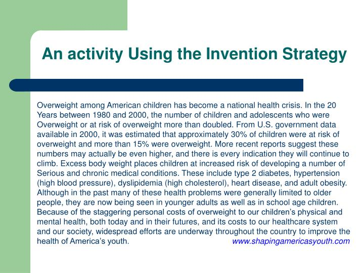 An activity Using the Invention Strategy