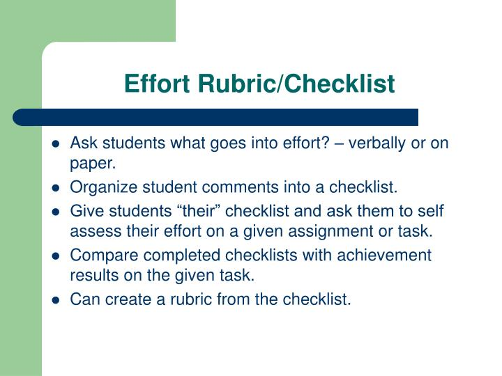 Effort Rubric/Checklist