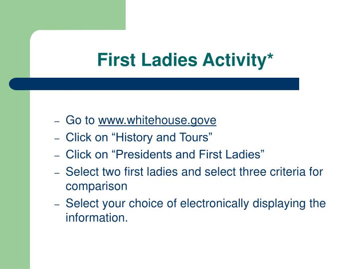 First Ladies Activity*