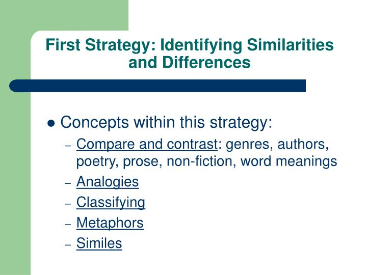 First Strategy: Identifying Similarities and Differences