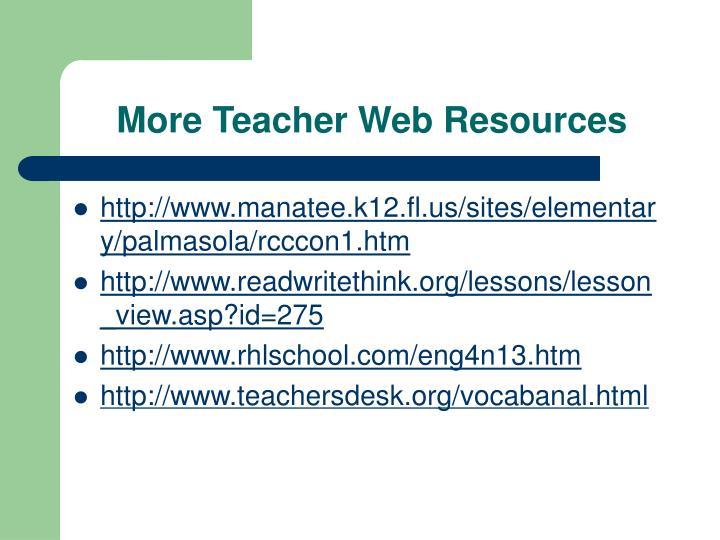 More Teacher Web Resources