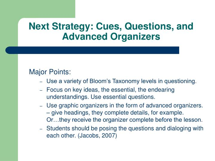 Next Strategy: Cues, Questions, and Advanced Organizers