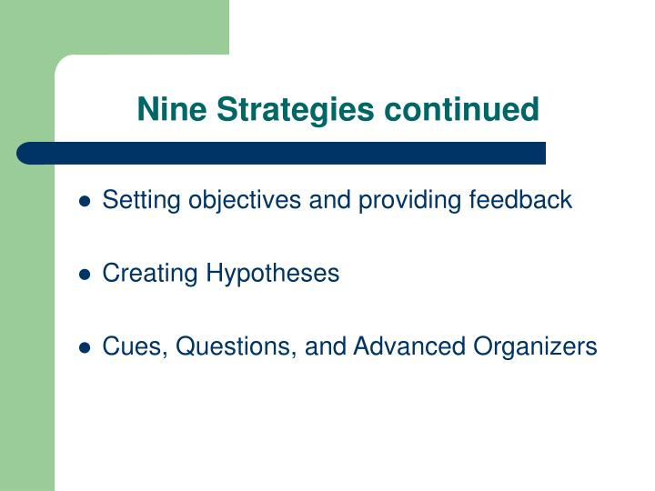Nine Strategies continued