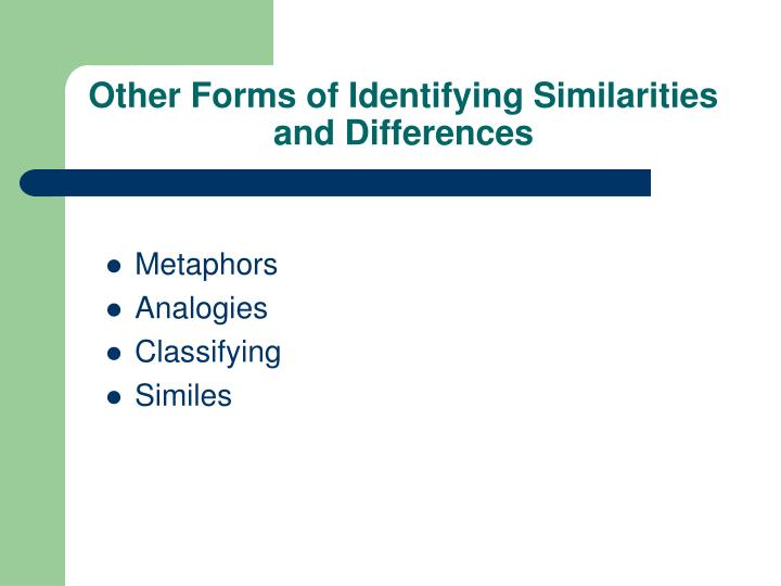 Other Forms of Identifying Similarities and Differences