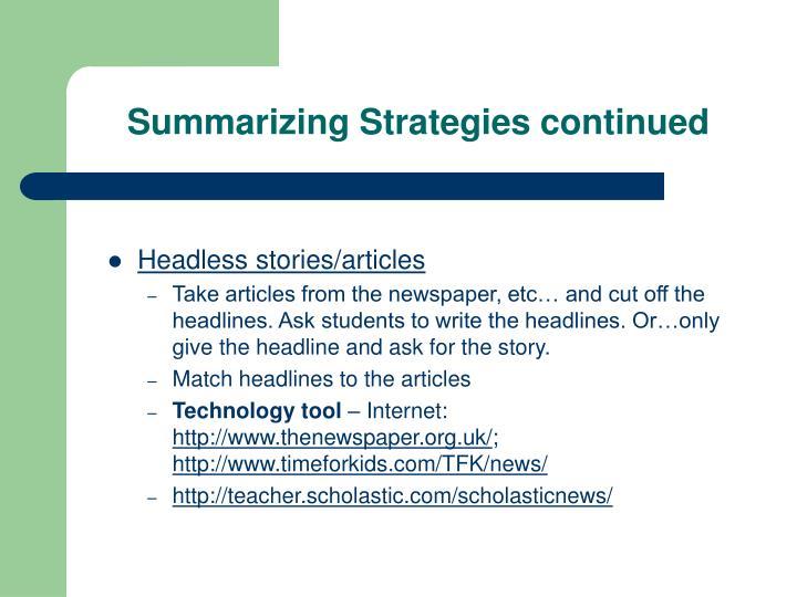 Summarizing Strategies continued