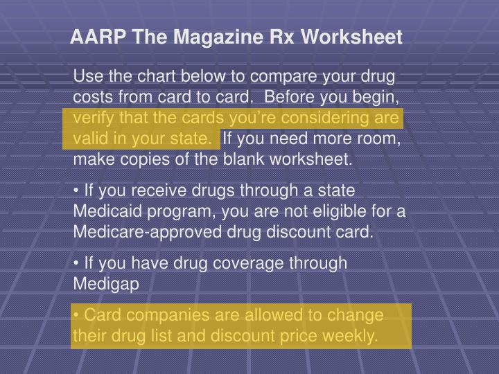 AARP The Magazine Rx Worksheet