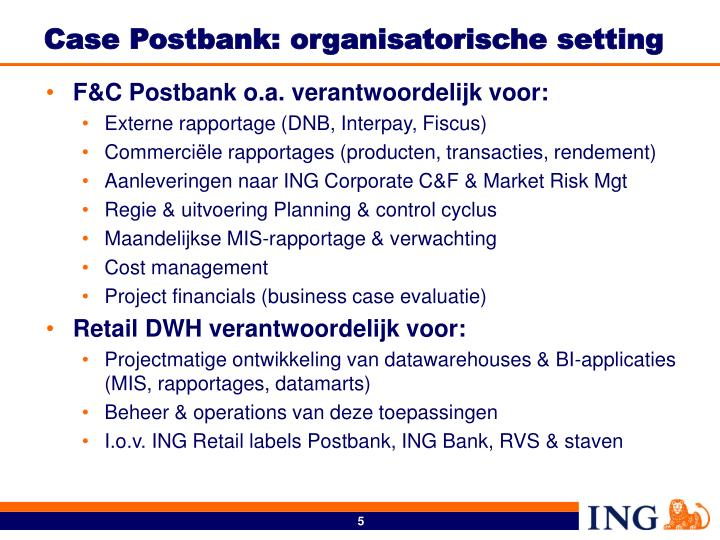 Case Postbank: organisatorische setting