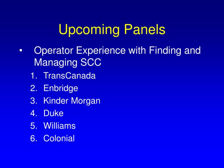 Upcoming Panels