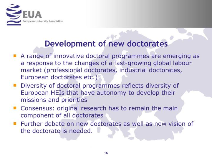Development of new doctorates
