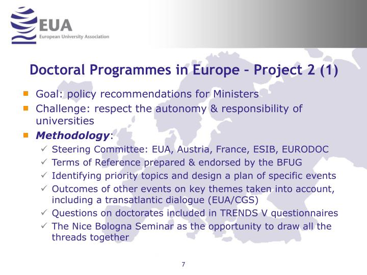 Doctoral Programmes in Europe – Project 2 (1)