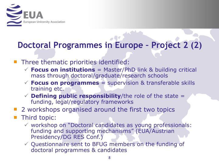 Doctoral Programmes in Europe – Project 2 (2)
