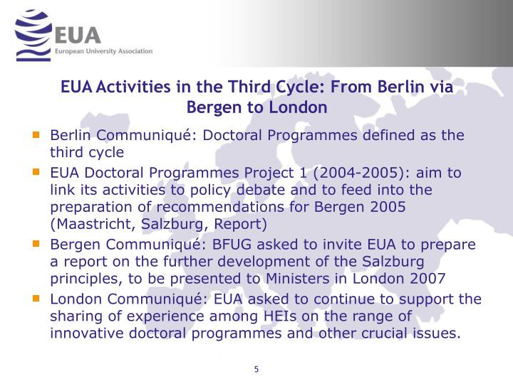 EUA Activities in the Third Cycle: From Berlin via Bergen to London
