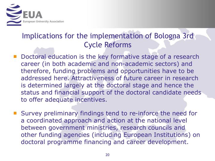 Implications for the implementation of Bologna 3rd Cycle Reforms