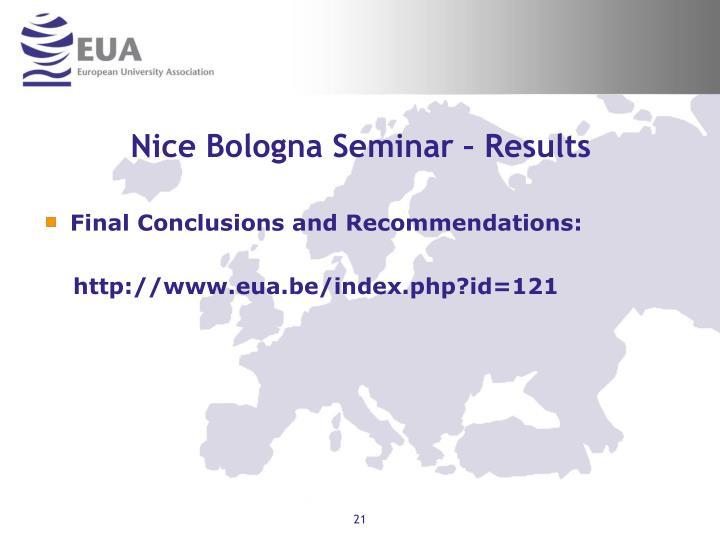 Nice Bologna Seminar – Results