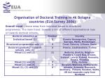 organisation of doctoral training in 46 bologna countries eua survey 2006