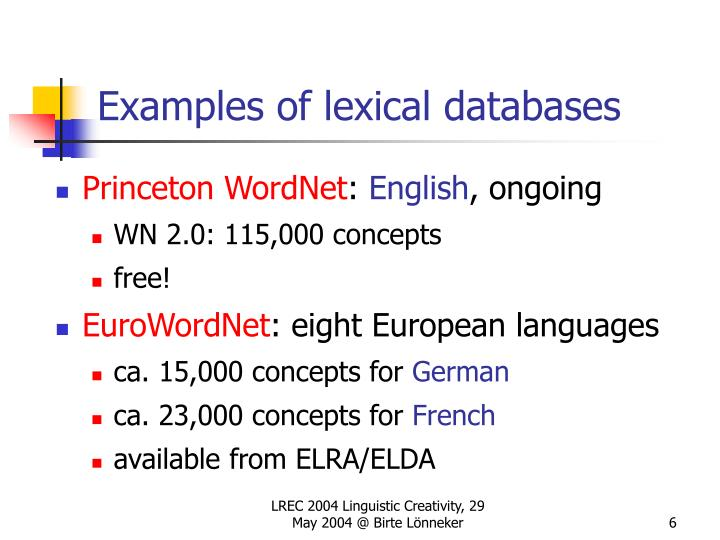 Examples of lexical databases