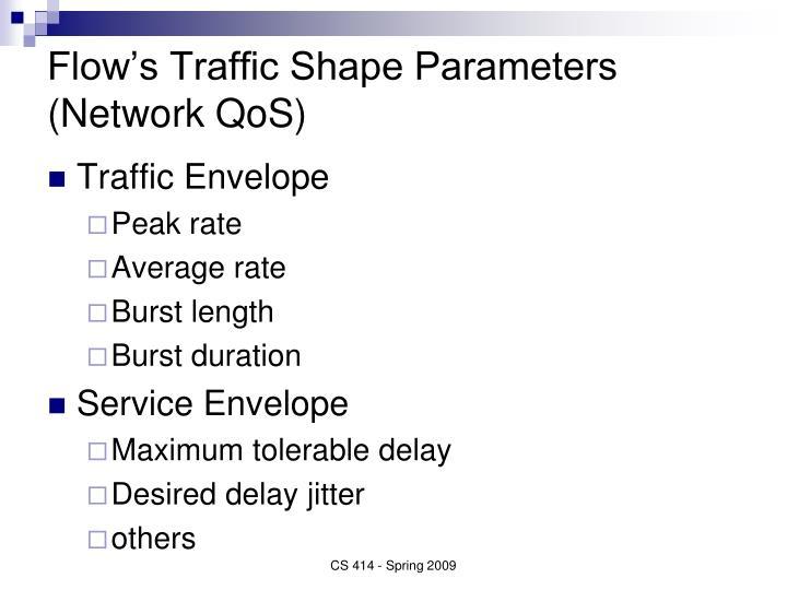 Flow's Traffic Shape Parameters (Network QoS)