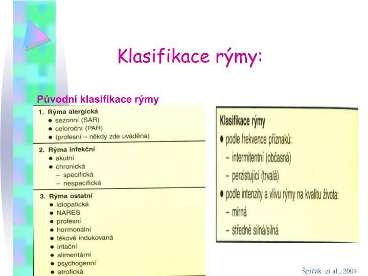 Klasifikace rýmy: